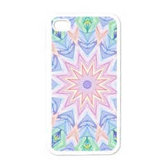 Soft Rainbow Star Mandala Apple Iphone 4 Case (white) by Zandiepants