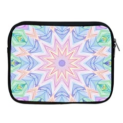 Soft Rainbow Star Mandala Apple iPad Zippered Sleeve by Zandiepants