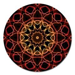 Yellow And Red Mandala Magnet 5  (Round) by Zandiepants