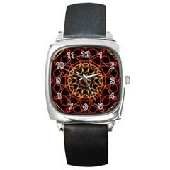 Yellow And Red Mandala Square Leather Watch by Zandiepants