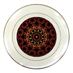 Yellow And Red Mandala Porcelain Display Plate by Zandiepants