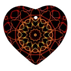 Yellow And Red Mandala Heart Ornament (Two Sides) by Zandiepants