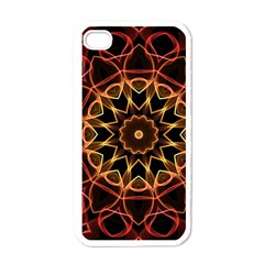 Yellow And Red Mandala Apple Iphone 4 Case (white) by Zandiepants