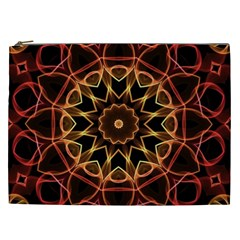 Yellow And Red Mandala Cosmetic Bag (xxl) by Zandiepants