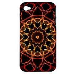 Yellow And Red Mandala Apple Iphone 4/4s Hardshell Case (pc+silicone) by Zandiepants