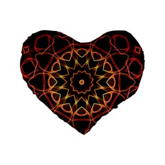 Yellow And Red Mandala 16  Premium Heart Shape Cushion  by Zandiepants