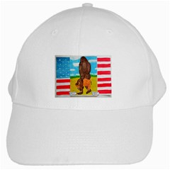 Big Foot,bison U,s,a, Flag White Baseball Cap by creationtruth