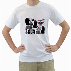 Black white and fucsia monsters Men s T-Shirt (White)  by Contest1771913