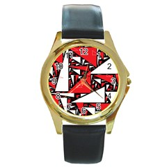 Titillating Triangles Round Leather Watch (gold Rim)  by StuffOrSomething