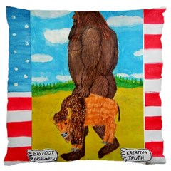 Big Foot,bison U,s,a, Flag Large Cushion Case (single Sided)  by creationtruth