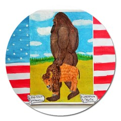 Big Foot,bison U,s,a, Flag Magnet 5  (round) by creationtruth