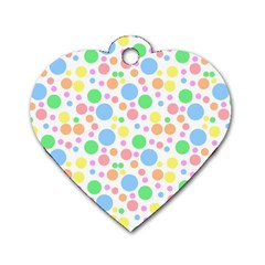 Pastel Bubbles Dog Tag Heart (two Sided) by StuffOrSomething