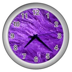 Purple Tresses Wall Clock (silver) by FunWithFibro