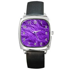 Purple Tresses Square Leather Watch by FunWithFibro