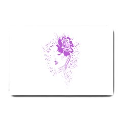 Purple Woman Of Chronic Pain Small Door Mat by FunWithFibro