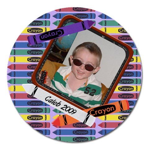 Crayon Round 5 Inch Magnet By Chere s Creations   Magnet 5  (round)   Mhy3ixxygd8f   Www Artscow Com Front