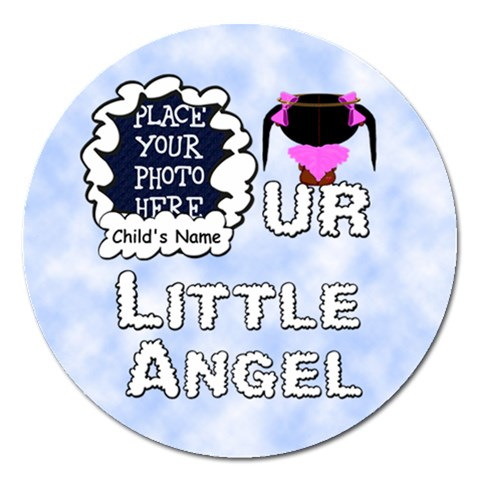 Our Little Angel Girl 5 Inch Magnet By Chere s Creations   Magnet 5  (round)   T02djcwjrjyb   Www Artscow Com Front