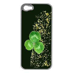 Clover Apple iPhone 5 Case (Silver) by Contest1852090