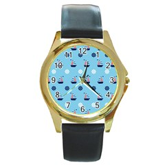 Summer Sailing Round Leather Watch (gold Rim)  by StuffOrSomething