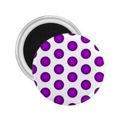 Purple And White Polka Dots 2 25  Button Magnet by Colorfulart23