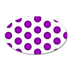 Purple And White Polka Dots Magnet (oval) by Colorfulart23