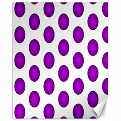 Purple And White Polka Dots Canvas 16  X 20  (unframed) by Colorfulart23