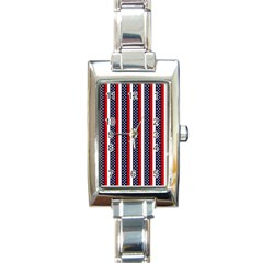 Patriot Stripes Rectangular Italian Charm Watch by StuffOrSomething