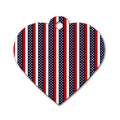 Patriot Stripes Dog Tag Heart (two Sided) by StuffOrSomething