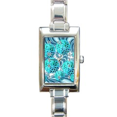Teal Sea Forest, Abstract Underwater Ocean Rectangular Italian Charm Watch by DianeClancy