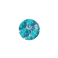 Teal Sea Forest, Abstract Underwater Ocean 1  Mini Button Magnet by DianeClancy
