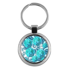 Teal Sea Forest, Abstract Underwater Ocean Key Chain (round) by DianeClancy
