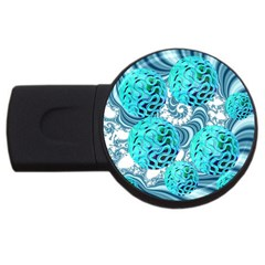 Teal Sea Forest, Abstract Underwater Ocean 1GB USB Flash Drive (Round)