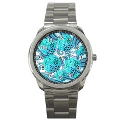 Teal Sea Forest, Abstract Underwater Ocean Sport Metal Watch by DianeClancy