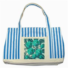 Teal Sea Forest, Abstract Underwater Ocean Blue Striped Tote Bag by DianeClancy