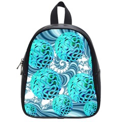 Teal Sea Forest, Abstract Underwater Ocean School Bag (small) by DianeClancy