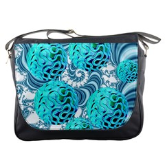Teal Sea Forest, Abstract Underwater Ocean Messenger Bag by DianeClancy