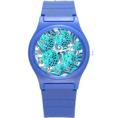 Teal Sea Forest, Abstract Underwater Ocean Plastic Sport Watch (small) by DianeClancy