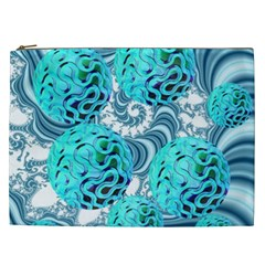 Teal Sea Forest, Abstract Underwater Ocean Cosmetic Bag (XXL) by DianeClancy