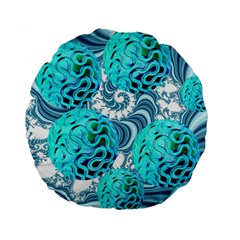 Teal Sea Forest, Abstract Underwater Ocean 15  Premium Round Cushion  by DianeClancy