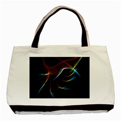 Imagine, Through The Abstract Rainbow Veil Twin Sided Black Tote Bag by DianeClancy
