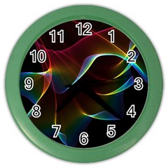 Imagine, Through The Abstract Rainbow Veil Wall Clock (color) by DianeClancy