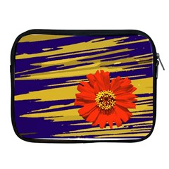 Red Flower Apple Ipad Zippered Sleeve by Rbrendes