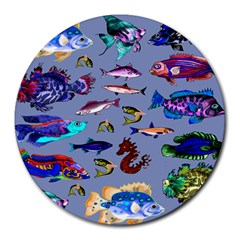 Fishy 8  Mouse Pad (round) by Rbrendes