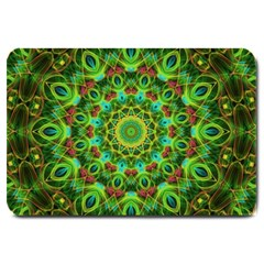 Peacock Feathers Mandala Large Door Mat by Zandiepants
