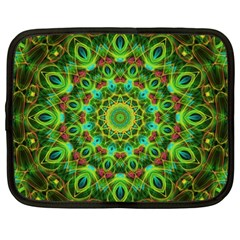 Peacock Feathers Mandala Netbook Sleeve (Large) by Zandiepants
