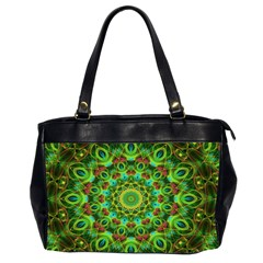 Peacock Feathers Mandala Oversize Office Handbag (Two Sides) by Zandiepants