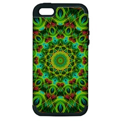 Peacock Feathers Mandala Apple Iphone 5 Hardshell Case (pc+silicone) by Zandiepants