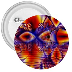 Winter Crystal Palace, Abstract Cosmic Dream 3  Button by DianeClancy
