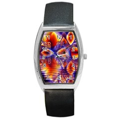Winter Crystal Palace, Abstract Cosmic Dream Barrel Style Metal Watch by DianeClancy