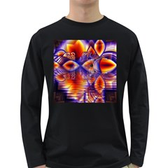 Winter Crystal Palace, Abstract Cosmic Dream Long Sleeve Dark T Shirt by DianeClancy
